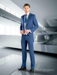 traje de novio azul enzo romano chaque
